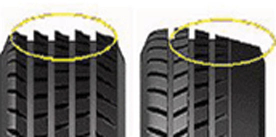 Toe (left) or camber (right) tire wear