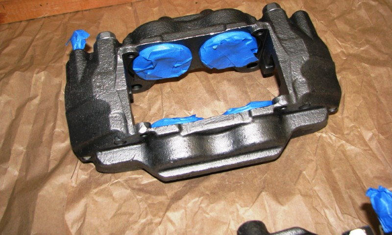 Brake caliper masked for painting