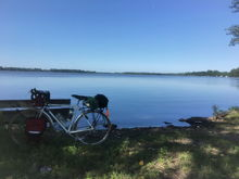 """Looking at Lake Elysian during a two-day """"tour"""" between Mankato and Fairbault MN."""