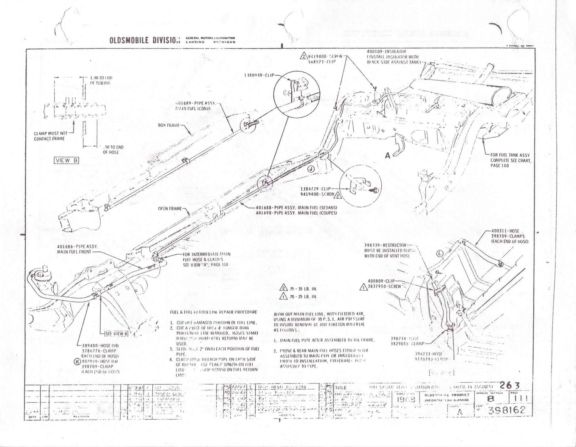 67 Oldsmobile 442 Fuel Gas Tank 2 Vent Tube Hose Hoses with Restrictor Filter