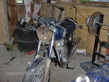 1977 Yamaha XS650 when I got it, from my next door neighbor for $100 after it was in a wreck and sat for 10 years.