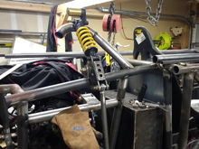 Making the right rear shock mounting hoop. The pushrod was also mocked up.