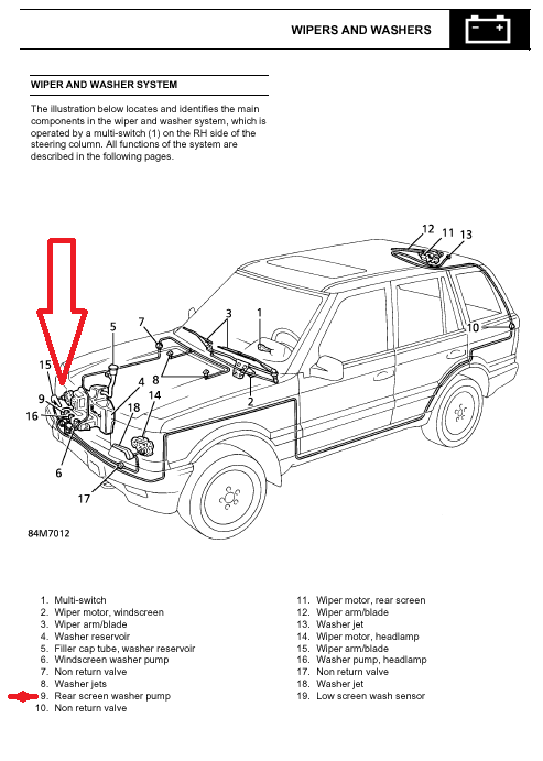 P38 Rear Windshield Washer Pump Location Land Rover
