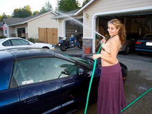Amanda getting a lil excited washing the car