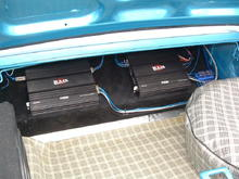 Profile Amps on custom plate in trunk (1400 Watts)