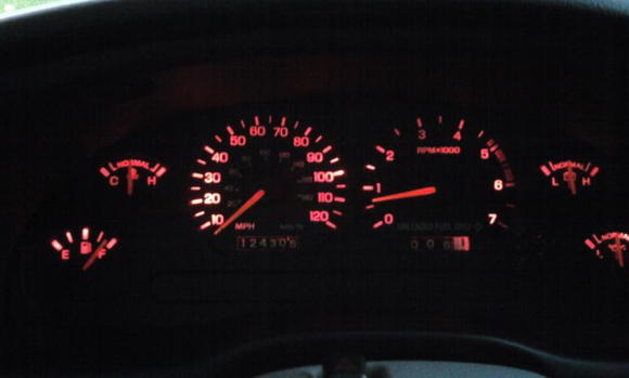 sanded down the blue behind my gauges and put some red lights in.  Took about an hour...