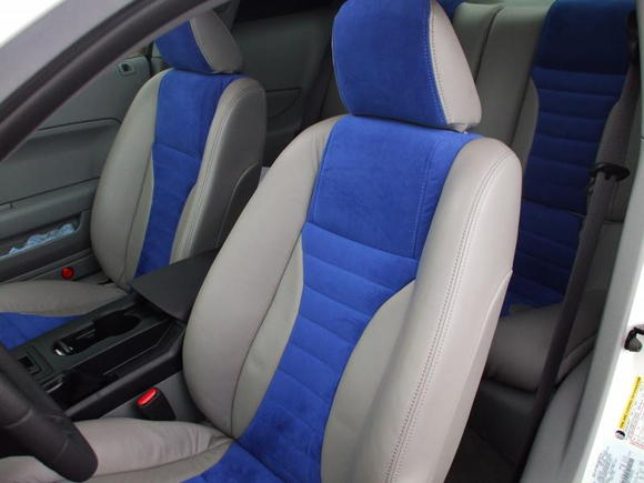 Blue suede leather seats