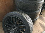 Full set mustang wheels + tires. Nitto Drag and Pirelli fron