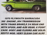 Plymouth Barracuda 1970  for sale $24,000