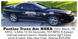 2002 Pontiac Firebird  for sale $35,000