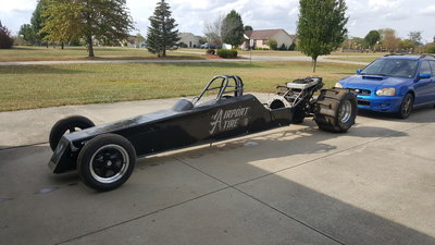 Rear engine mono shock dragster