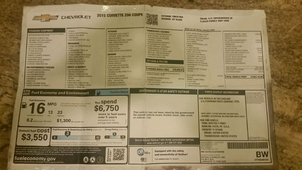 2015 Chevrolet Corvette  for Sale $65,900
