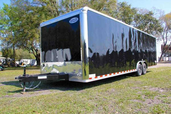 28' Black Continental Race Trailer - Hard Loaded
