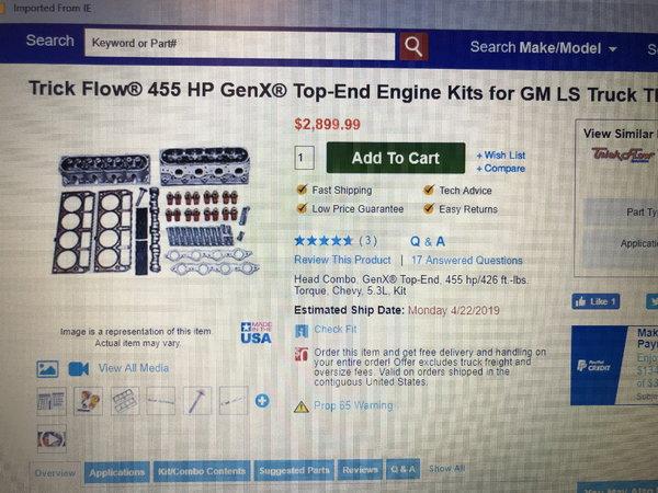 Trick Flow Gen X LS top end kit  for Sale $2,500