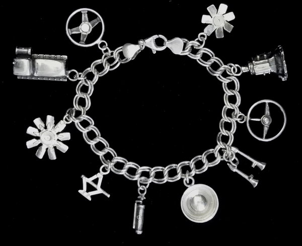 AUTO PARTS STERLING SILVER(92.5) CHARM BRACELETS  for Sale $180