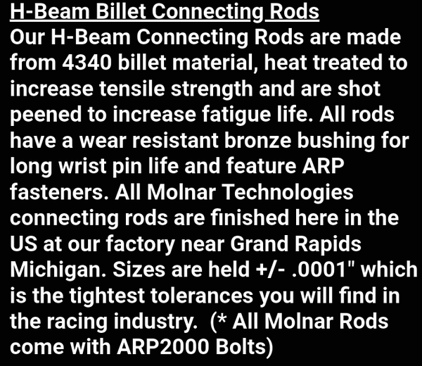 MOLNAR FORD RODS BBF 429/460 & FE FREE SHIPPING!  for Sale $658