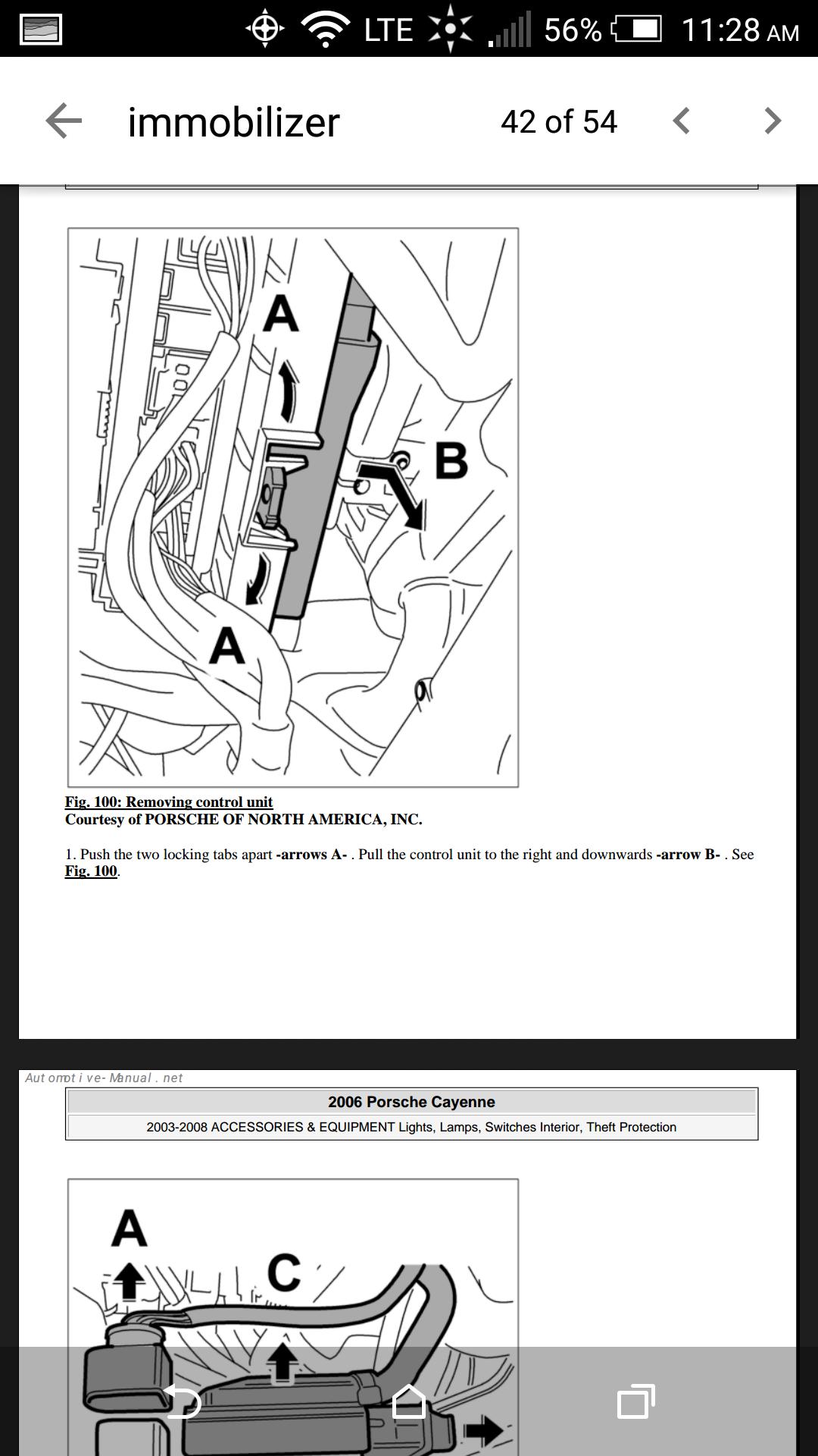 Location of Immobilizer Cayenne 2006 3 2L - 6SpeedOnline