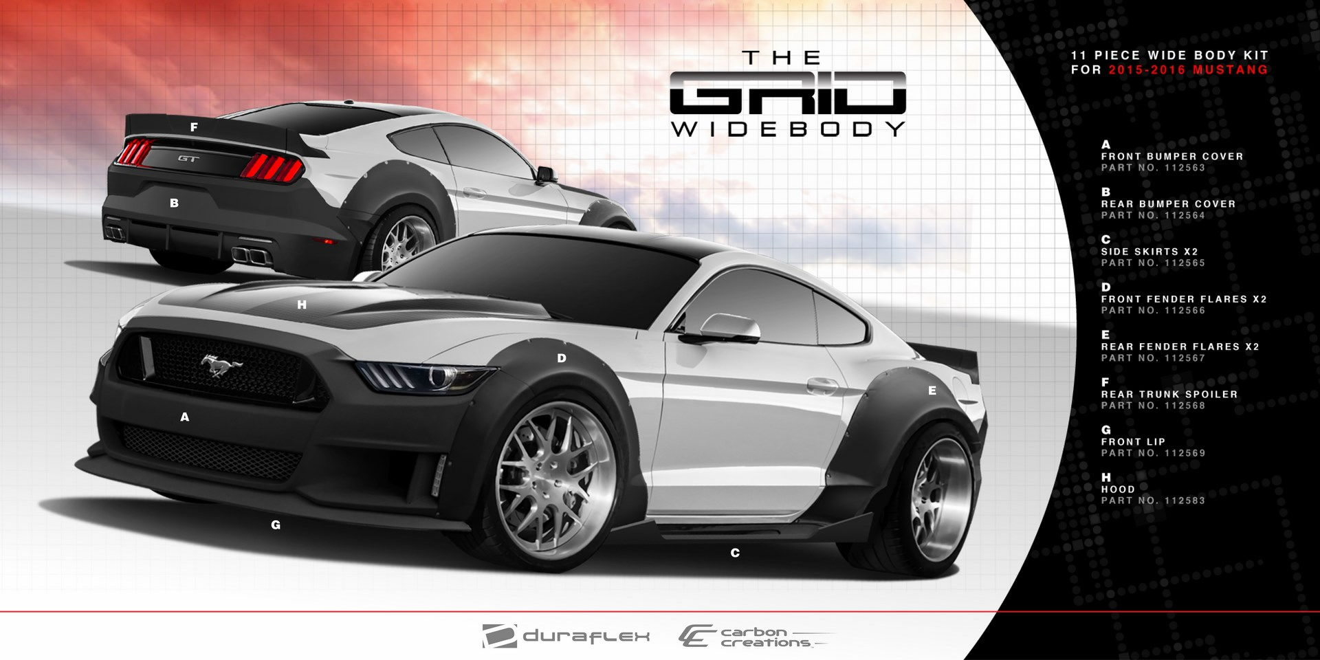 new duraflex 2015 mustang grid widebody kit available soon. Black Bedroom Furniture Sets. Home Design Ideas
