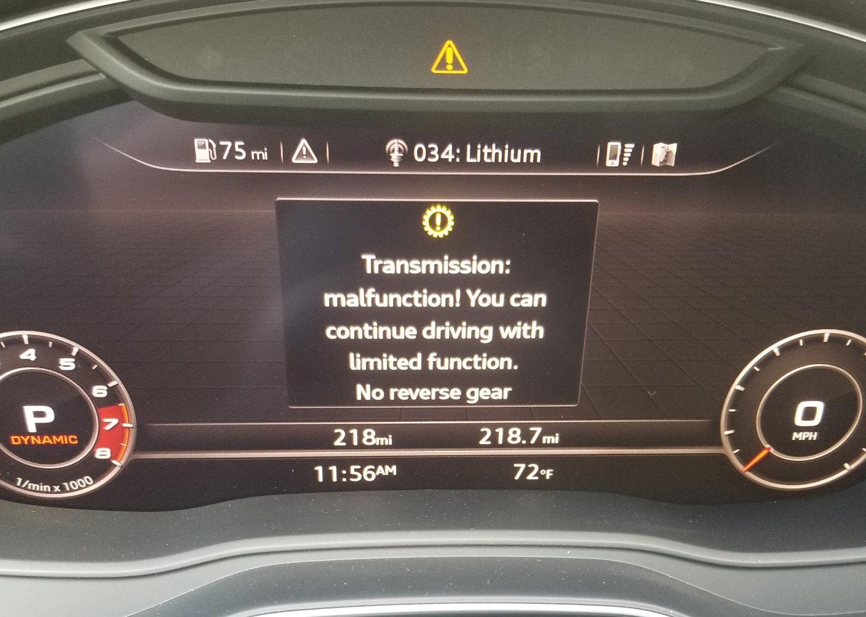 Audi S5 Gearbox Malfunction No Reverse