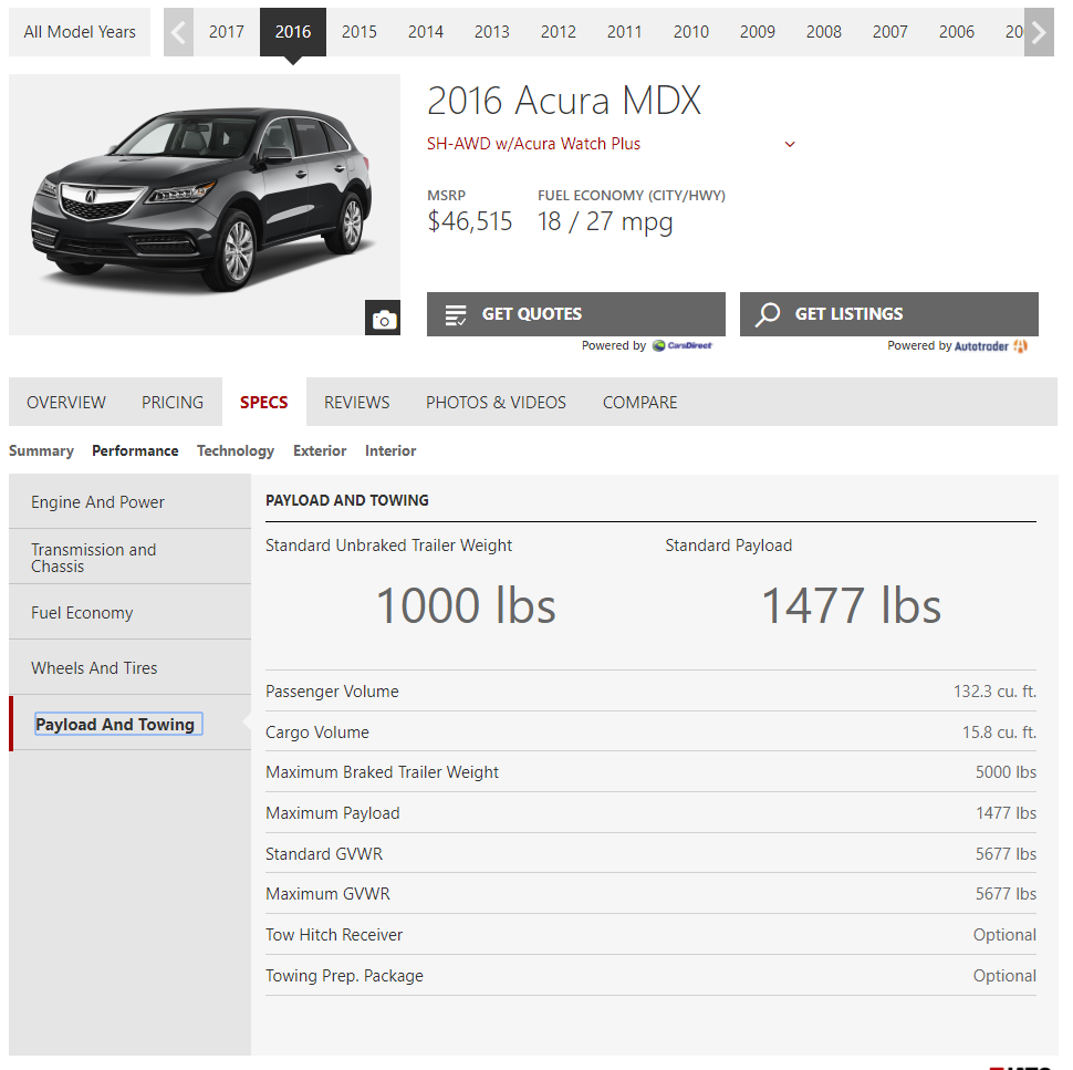 Towing Capacity Help Needed AudiWorld Forums - Acura mdx tow capacity