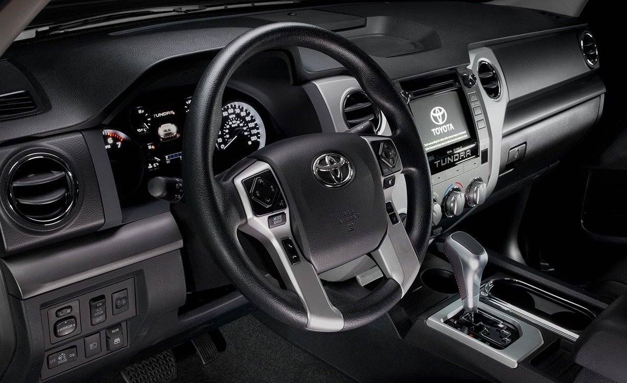 For me a leather wrapped steering wheel is a deal breaker on any toyota either low end or high end no excuse for the trd tundra to not have one