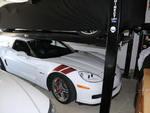 My car in Benny's garage on July 4, 2009. VIP shaded parking. Note the Jake on Benny's lift.
