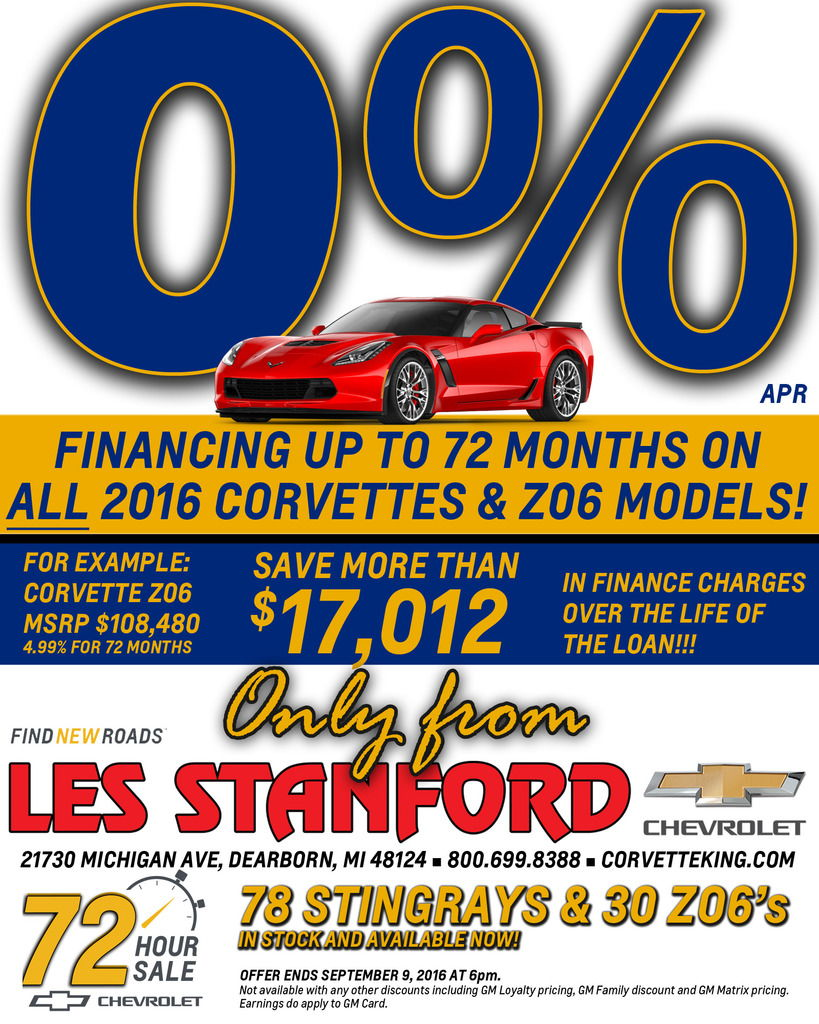 0 Apr For Up To 72 Months On All 2016 Corvettes Including