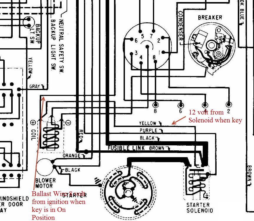 peterbuilt it spot on, here is the diagram from my 69 (same as the 72 he  posted), the yellow wire from the solenoid provides full 12 volts to coil  only when