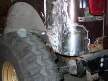 23254Left rear sheet metal welded in place