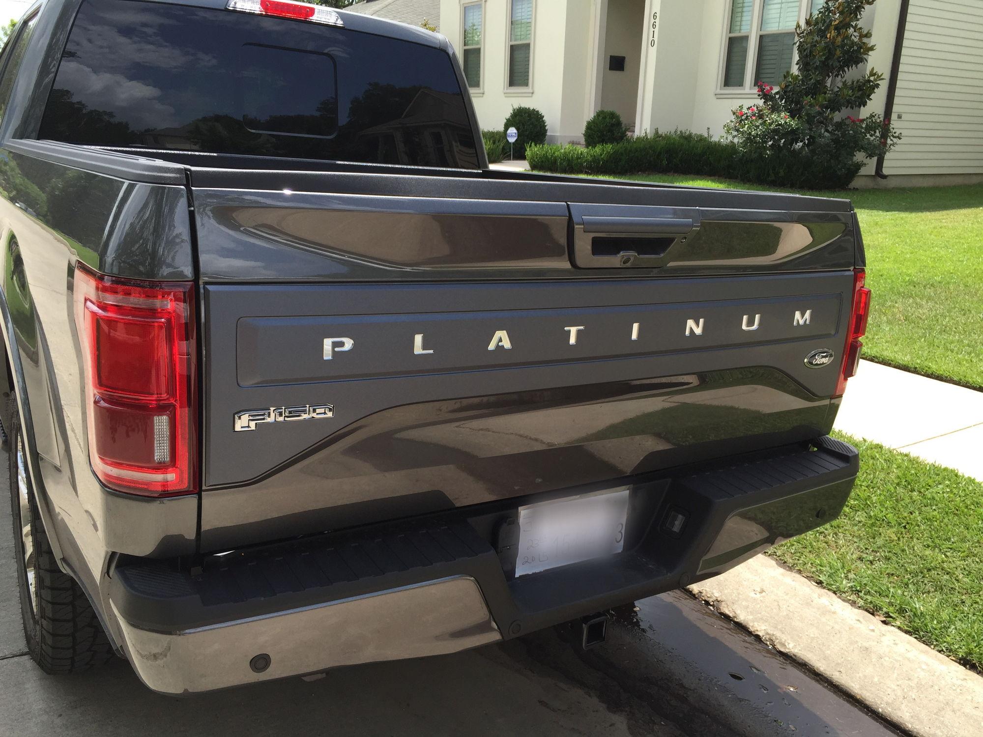 wrapped metallic platinum tailgate trim