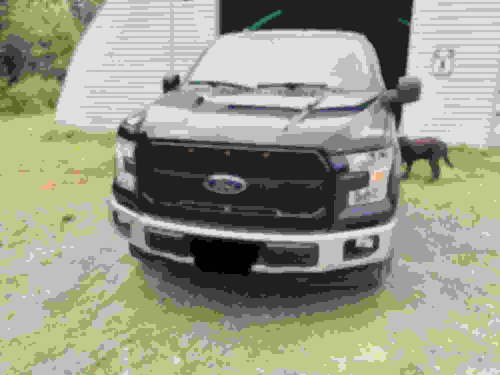 11-16 Ford Super Duty Raptor Gloss Black Front Hood Mesh Grille+Shell+Amber LED