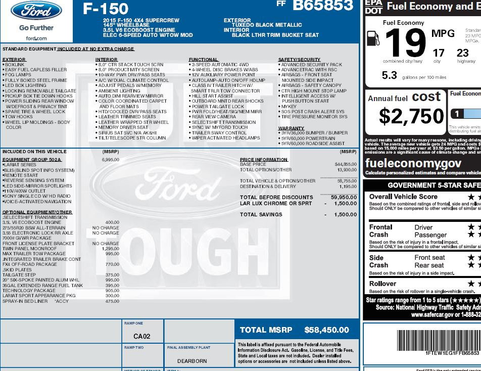 Original Window Sticker Page 3 Ford F150 Forum Community Of Ford Truck Fans