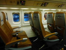 VLM Airlines seating on board Fokker 50.