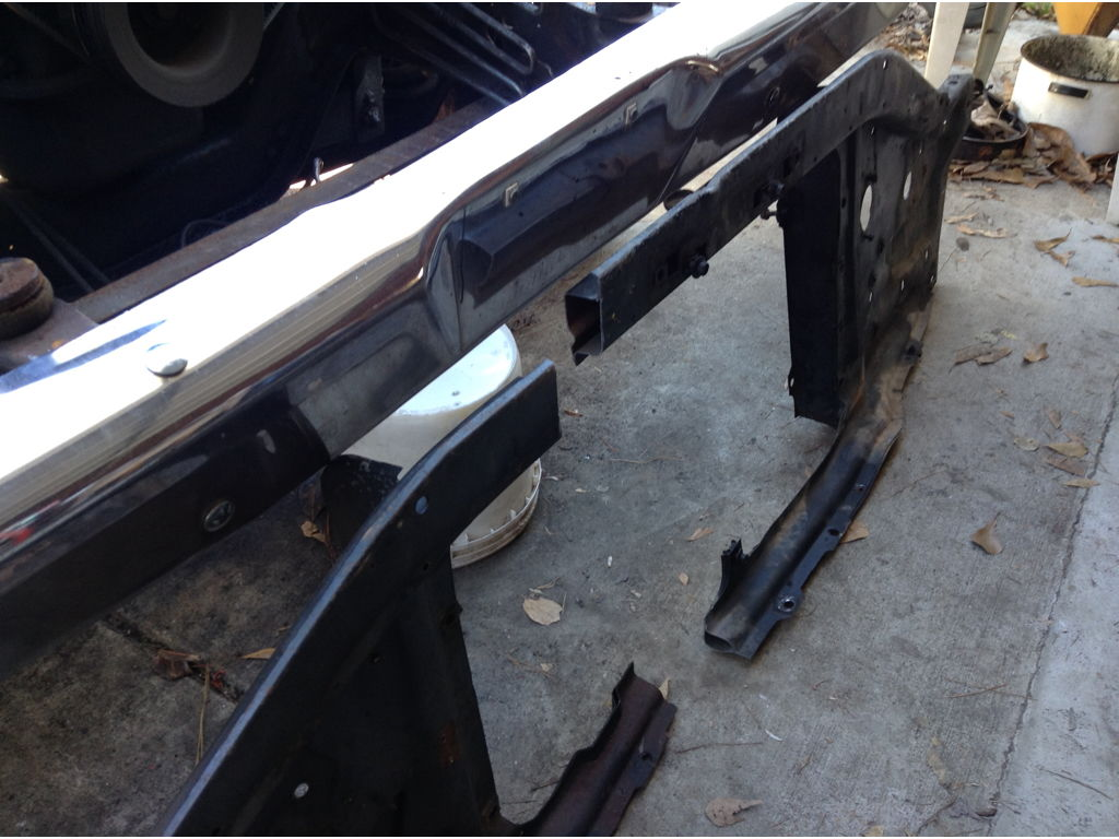 To align the radiator x member parts it became necessary to use the inner fenders and the radiator from the parts truck in an attempt to fix the positions