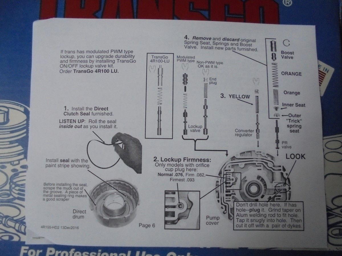 Transgo 4r100 tugger kit instructions