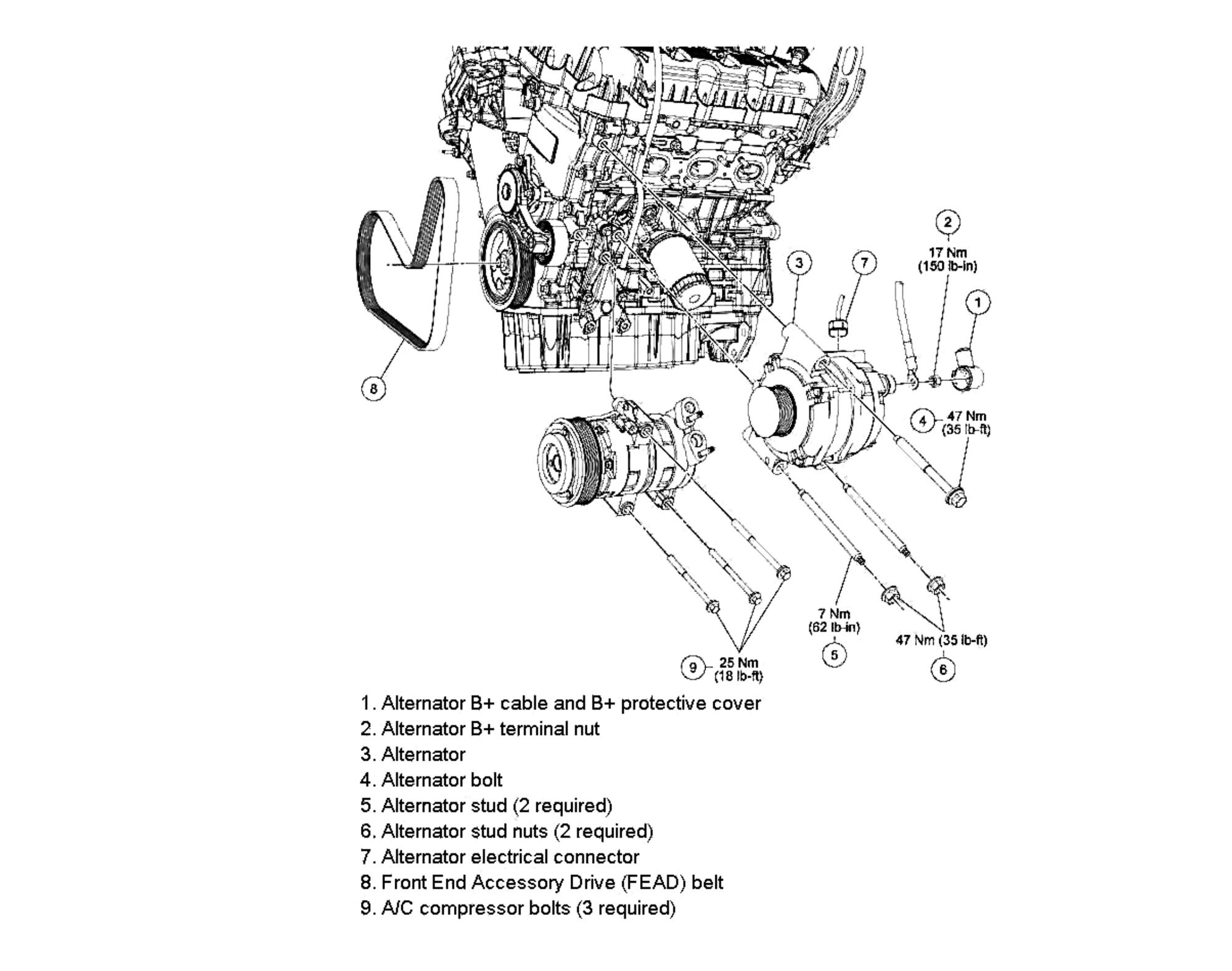 Alternator replacement 2009-12 3 0 V6 - Ford Truck