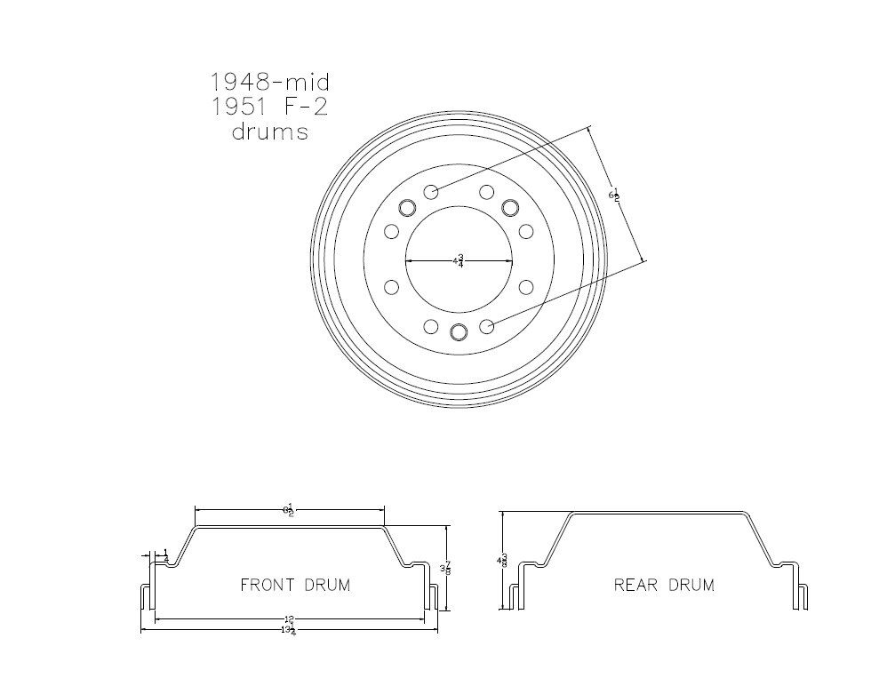 are the front and rear brake drums interchangeable on 48 f2