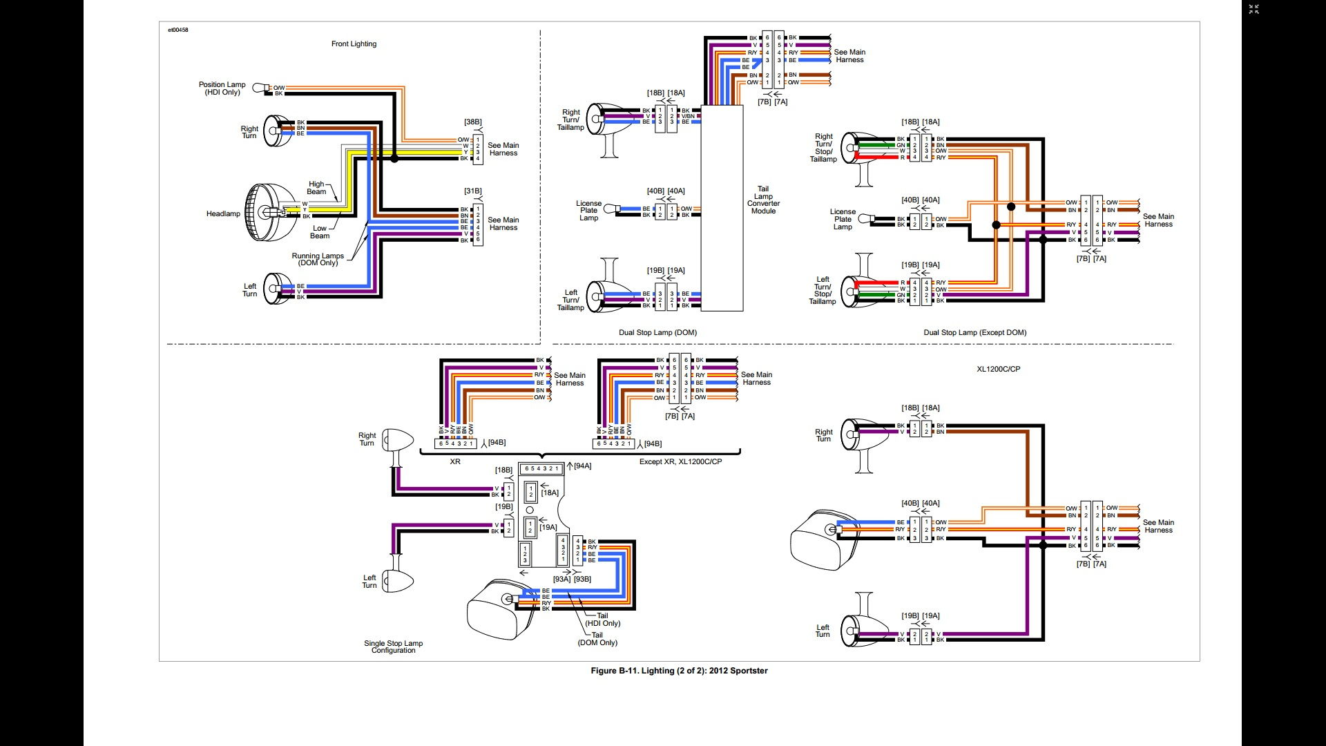 Harley Indicator Wiring Diagram : Hd xl wire harness color harley davidson forums