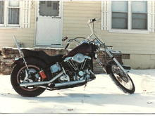 "My Bitch as she started life 28 yrs and 300,000   miles ago , bike saved my life during a bad house fire she was just a rolling frame with a motor in it ,I got trapped in the garage and threw the bike through the garage door to get out  . Like Richard Pryor said "" fire is a great motivator "" . What you see was all the spare parts everybody donated and I made work one way or another , some good people there . Bike has been my best and most faithful  friend ever since and I'll have her when I pass ."