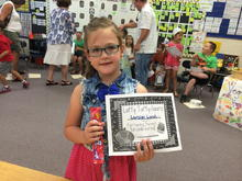 Loralei's award at school