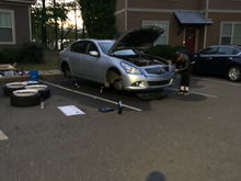 Working on the tires, emblems, and headlight restoration