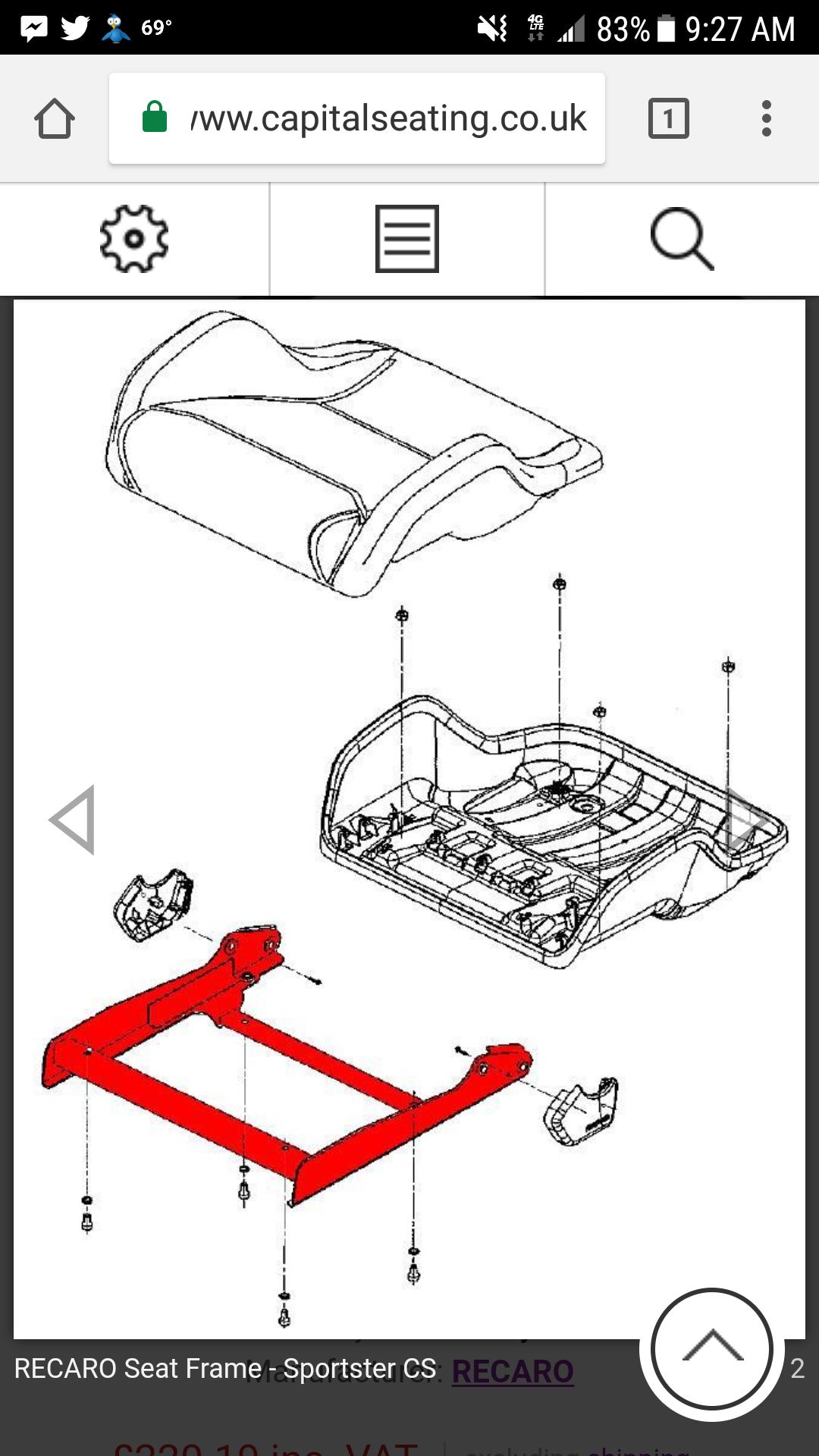 Recaro sportster bottom seat frame - S2KI Honda S2000 Forums