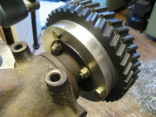 Detail of attachment of gates driven sprocket to a spare celica GTS diff pinion flange using custom machined adapter.