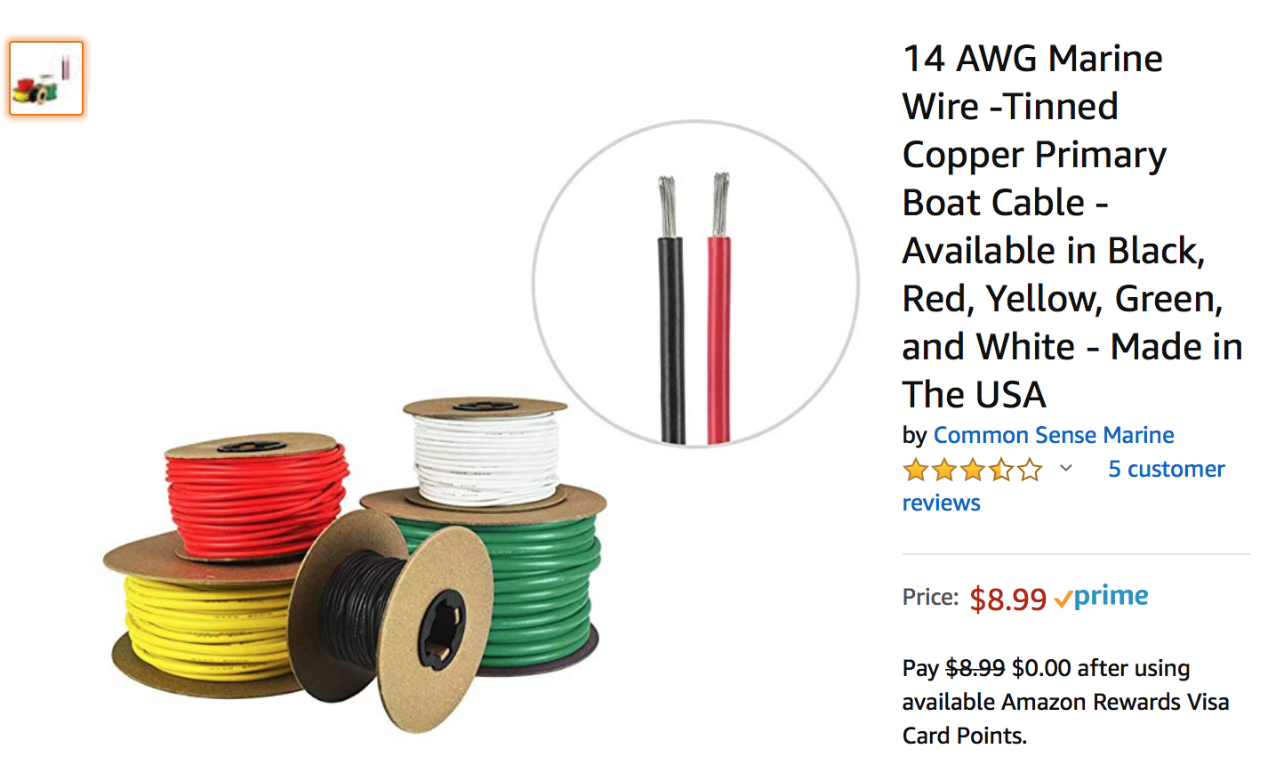 Made in The USA Tinned Copper Boat Battery Cable Yellow Green Available in Black and White Red 8 AWG Marine Wire