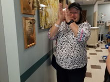 My Bride Got to ring the bell this afternoon, think she was excited!  Chemo done, onto 13 weeks of radiation!  I couldn't be more proud of her. Due to the steroids and other meds she's gained over 60 lbs but still has her smile and sense of humor!