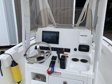 Installled Garmin 7610xsv, Garmin GT 51-TM transducer, Garmin VHF 200 and Shakespeare 5225 xt. Also added a Boaring Outfitters cell phone holder.