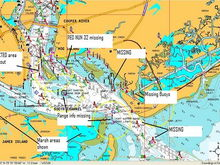 Items shown on Navionics chart compared to embedded charts