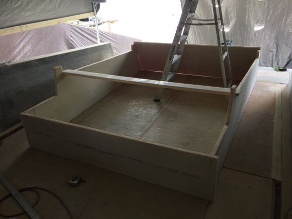 Sun bed And rear seat structure started. Access doors on either side will be cut in sole. Rear seats will have added divicell to create a 2.5 inch insulation barrier for the two fridge freezer in the outside( over 6 square feet of exterior refrigeration.