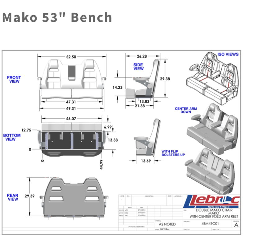 Llebroc Mako 53 Bench Seat Sold The Hull Truth
