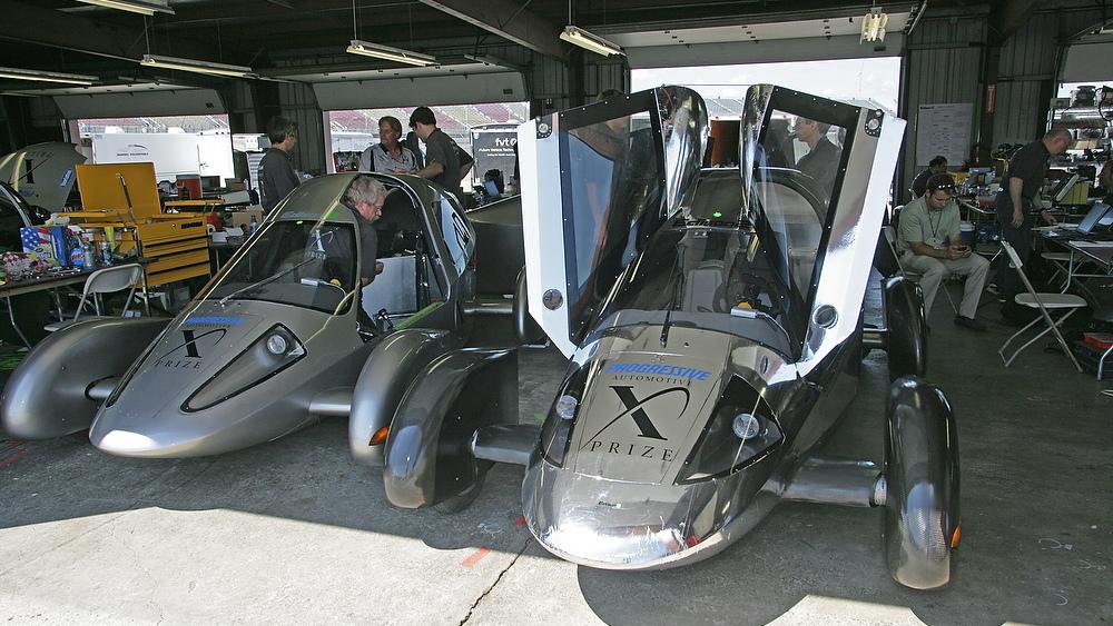 Two Edison2 Very Light Cars, Progressive Automotive X-Prize winner.